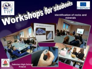 Workshops about identification rocks and minerals at Salesian High School in Poland