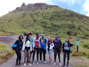 Excursion of French students to the top of volcano  La Soufrière
